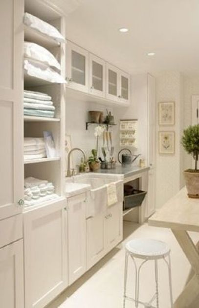 White cabinets in utility and laundry room