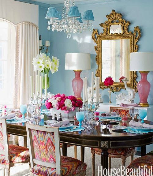 An Incredibly Bold And Beautiful Dining Room With Swoon Worthy Pink Lamps,  Blue Chadellier Shades, And Divine Patterned Chairs. Photo Source: House ...