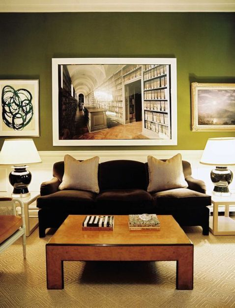 A dramatic black and green room by Ruthie Sommers via Lonny