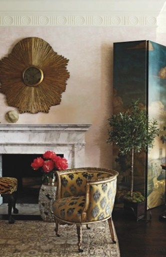 Celerie Kemble Fireplace with Screen via Distinctive Fireplaces