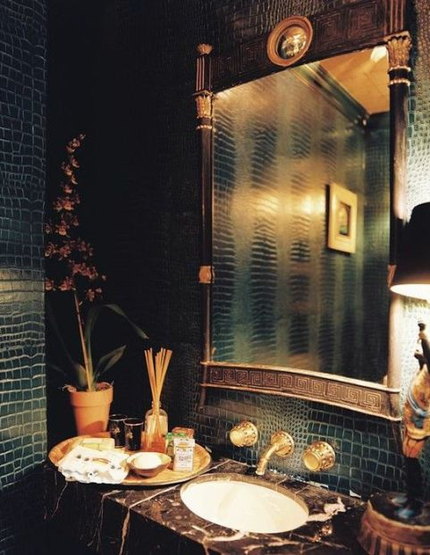 Crocodile Wallpaper in a Powder Room by Ruthie Sommers