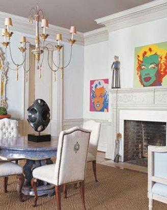 Dining Room of old and new in Charleston Home via Veranda