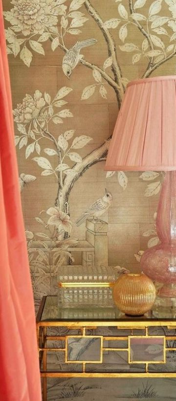 Gorgeous Wallpaper and pink glass lamp