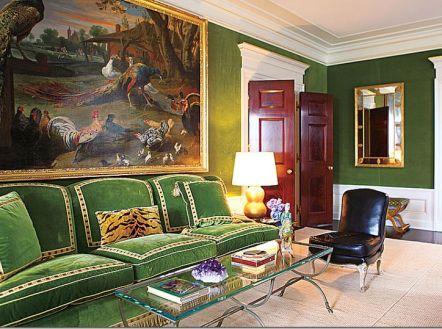 Green Velvet Sofa in Tory Burch's Apartment