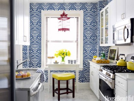 Kitchen by Ashley Whittaker of small apartment via HB