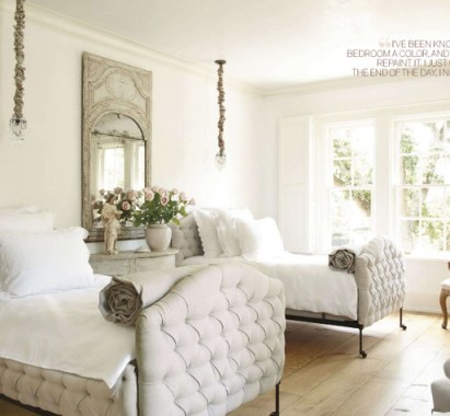 Pamela Pierce designed this elegant guest room with tufted beds via Veranda