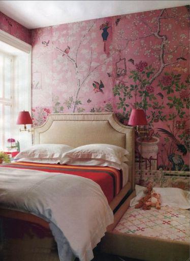 Pink Chinosierie Bedroom via House Beautiful