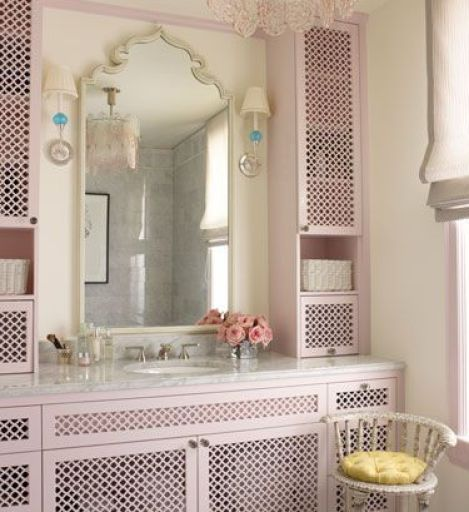 Pretty Pink Fretwork in Bathroom by Ruthie Sommers