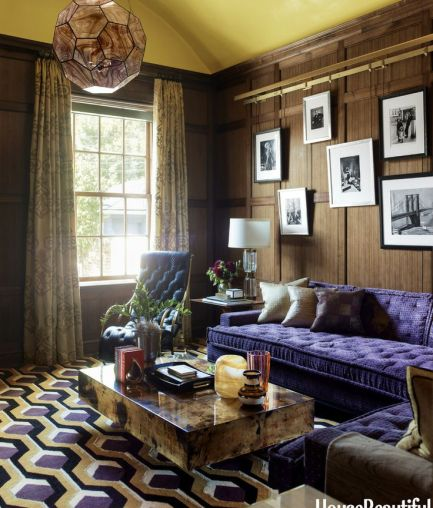 Purple Tufted Sofa by Steven Gambrel in House Beautiful