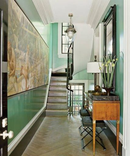 Steven gsambrel Staircase with green lacquer hall via Elle Decor