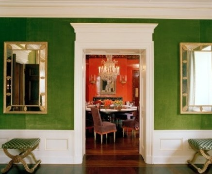Tory Burch's Green Velvet Walls via FDAMH