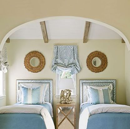 Twin Bedrooms in Blue and White Room