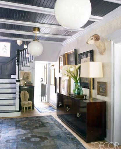 A splash of navy and grey ceilings via Elle Decor