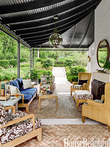 Black Painted Porch Ceiling by Markham Roberts in this Nashville Home