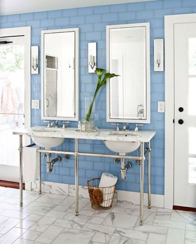 Blue subway in Cape Cod Summer House via Traditional Home