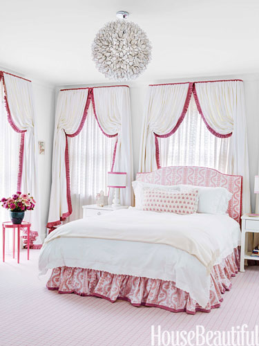 Daughter's room with sheer eyelet curtains by Markham Roberts