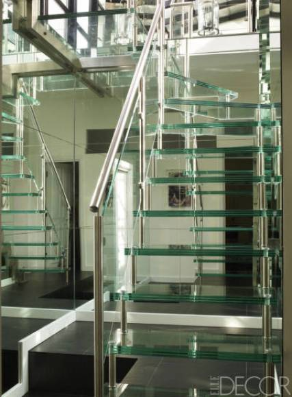 Glass stairs in london townhouse via Elle Decor