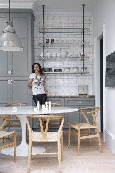 Gray Cabinets with White subway in this San Fran home of Susan Greenleaf via Lonny