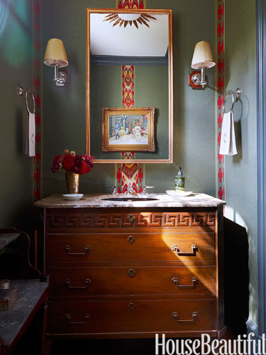 Powder Room in Nashville home by Markham Roberts