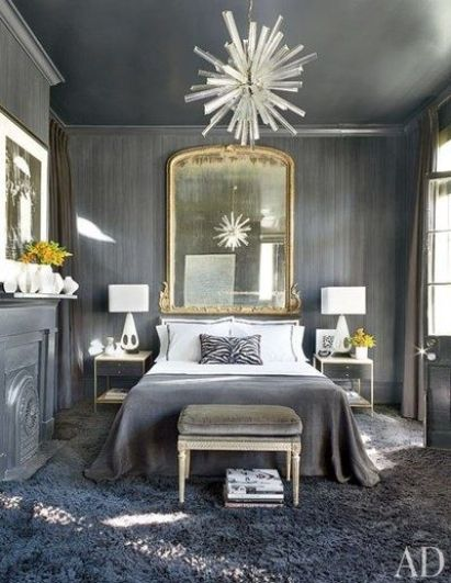 Shades of Gray in this bedroom featured in AD