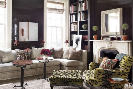 A chic and glossy den by Jeffrey Bilhuber via AD
