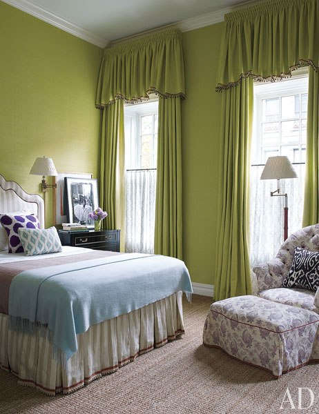 A smart green girls room in a NYC townhouse by Jeffrey Bilhuber
