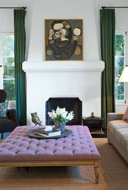 Ottoman Ginnifer Goodwin's LA home  via Elle Decor