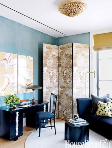 Screen and Blue room in NYC apartment by Jamie Drake
