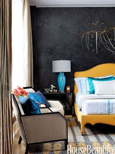Yellow bed pops in this room by Jamie Drake via HB