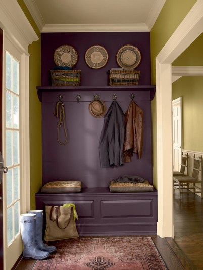 A Plum mud room locker via House Beautiful