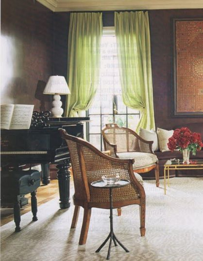 A pop of green against brown via Elle Decor
