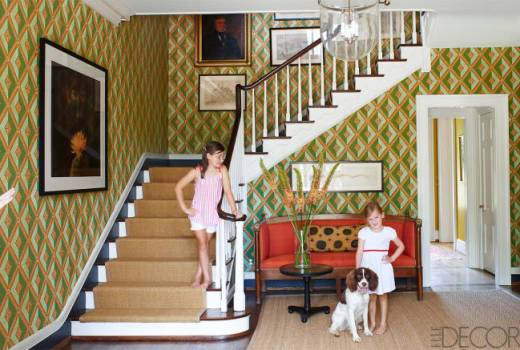 A wallpapered entry in Nashville by Brookschmidy and Coleman in Elle Decor