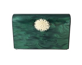 Charlotte Max Malachite Clutch  with white Amethyst Cluster