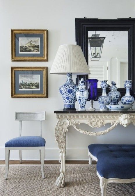 hamptons look hamptons look Get the Hamptons Look with These Gorgeous Console Tables Blue and White Vignette by Alexa Hampton