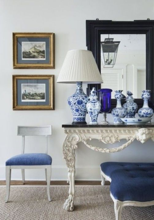 Blue and White Vignette by Alexa Hampton