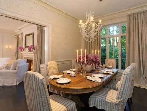 Dining room of Jennifer Lawrence LA home via Lonny