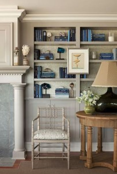 Books in Shades of Blue in a home designed by Philip Gorrivan