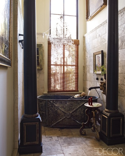 Columns in a restroom via Elle Decor