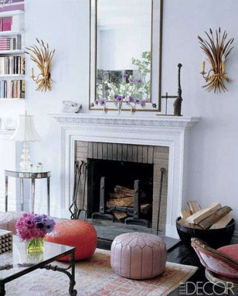 Gold Leaf Sconces via Elle Decor