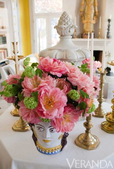 Pink Peonies in a ceramic faced vase via Veranda