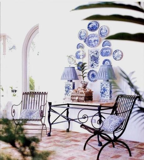 Blue and white display by Charles Faudree