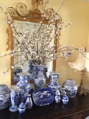 Blye and white on display in the home of Dana Mahnke on Etsy Indigo Home