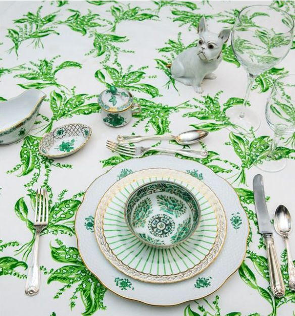 Green and White tablescape by Tory Burch