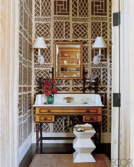 Lattice paper in this chic poweder room via Elle Decor