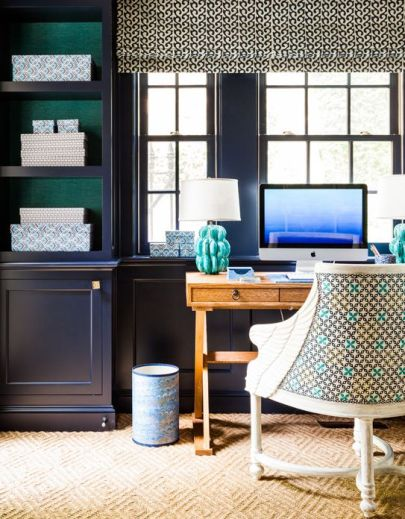 Blue walls and study by Sara Gilbane Interiors via her website