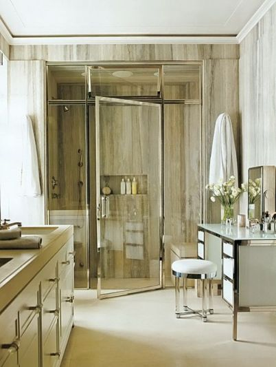 Mark Ferguson designed this chic bathroom via AD
