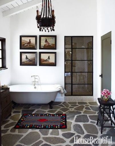 Shower area by Kelly McDowell via House Beautiful