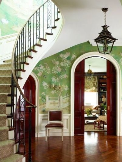 A Chinoiserie Hallway with Pocket Doors by Ashley Whitaker
