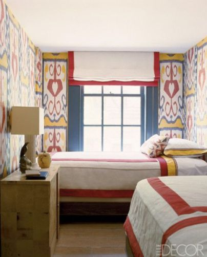 Colorful and compact guest room via Elle Decor