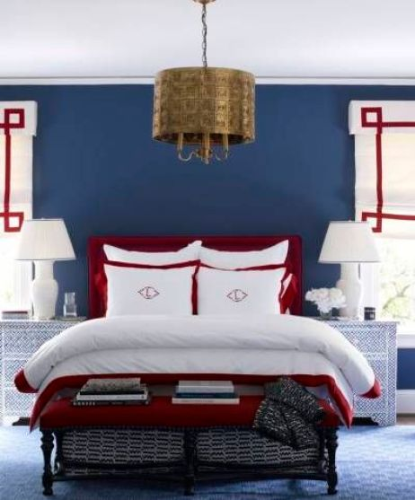 A perfect mix of red, white, blue in this bedroom